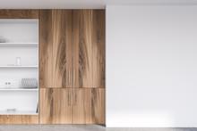 Wooden Cupboard In Modern Kitchen