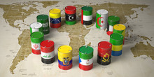 OPEC Concept. Oil Barrels In C...