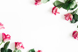 Flowers composition. Pink rose flowers on white background. Valentines day, mothers day, womens day concept. Flat lay, top view, copy space