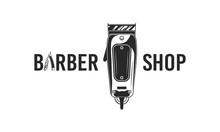 Abstract Barber Shop Logo Or Poster. Barbershop Logo With Razor Blade And Barber Clipper. Vector Illustration