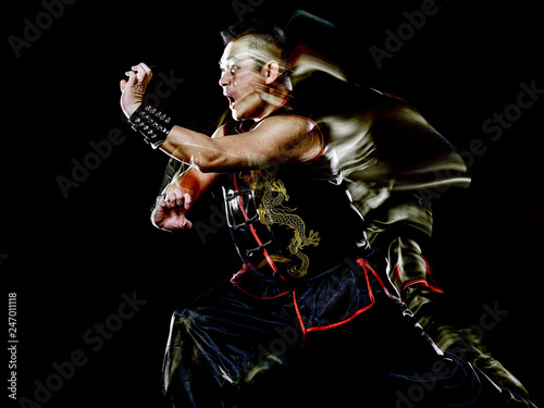 Obraz na plátně whushu chinese boxing kung fu Hung Gar fighter isolated man isolated on black ba