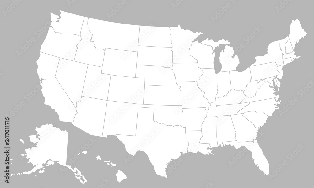 Fototapeta United States of America blank map with states isolated on a white background. USA map background. Vector illustration