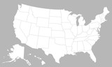 United States of America blank map with states isolated on a white background. USA map background. Vector illustration