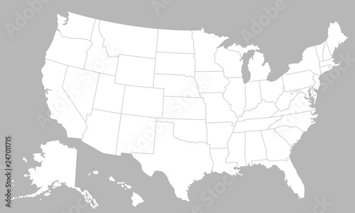 Fotomural United States of America blank map with states isolated on a white background
