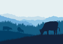 Realistic Illustration With Three Silhouettes Of Cows On Pasture, Grass And Forest, Under Blue Sky, Vector
