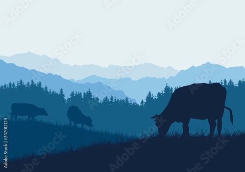 Cuadros en Lienzo Realistic illustration with three silhouettes of cows on pasture, grass and fore