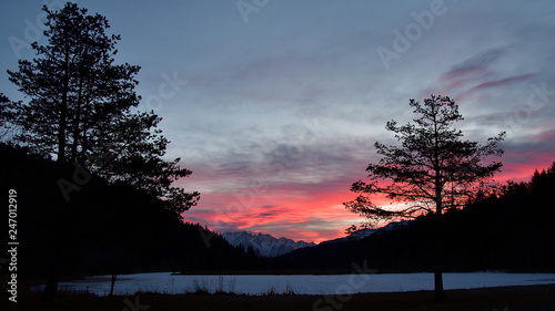 View of Adamello from Pian Gembro, Aprica, at the sunrise Wallpaper Mural