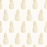 Golden pineapple pattern. Tropical summer design. - 247014104