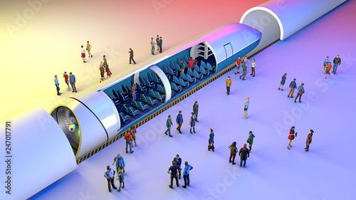 Stazione dei treni e Hyperloop Canvas Print