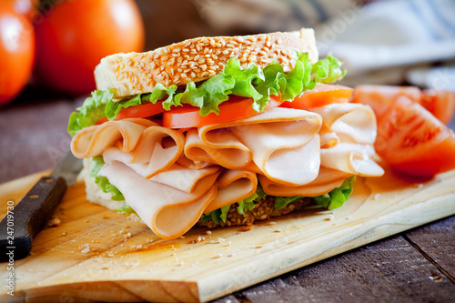 Photo sur Aluminium Snack Smoked Chicken Sandwich