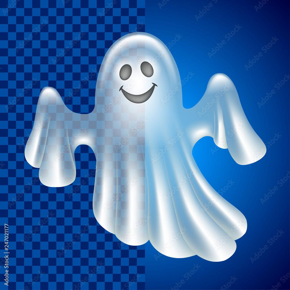 Fototapeta Cartoon cute ghost isolated on dark vector