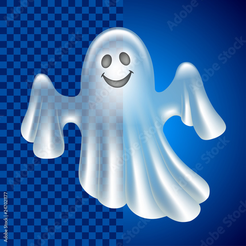 Платно Cartoon cute ghost isolated on dark vector