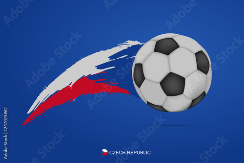 Photo  CZECH REPUBLIC football championship banner with 3d soccer ball and hand drawn calligraphy ink brush stripes CZECH REPUBLIC national flag colors on blue background