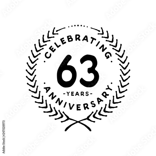 Fotografia  63 years design template. 63rd vector and illustration