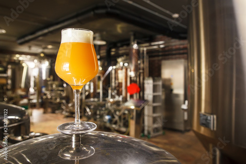 Hazy IPA beer at the brewery Canvas Print