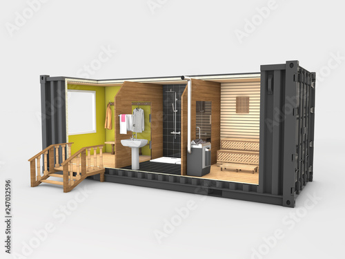 Converted old shipping container into sauna, 3d Illustration isolated gray © tussik