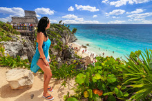 Woman At Beautiful Tulum Beach By Caribbean Sea, Mexico
