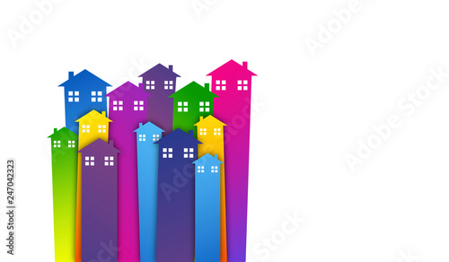 Vászonkép case, abitazioni, immobiliare, skyline