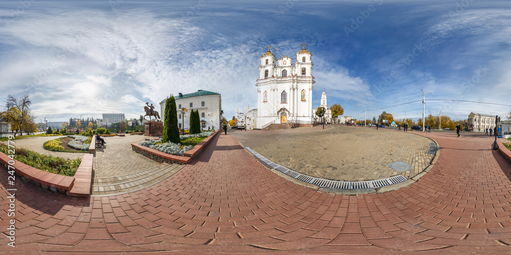 Fototapety, obrazy: full seamless spherical panorama 360 degrees angle view near ancient orthodox church in city center. 360 panorama in equirectangular projection, ready VR AR content