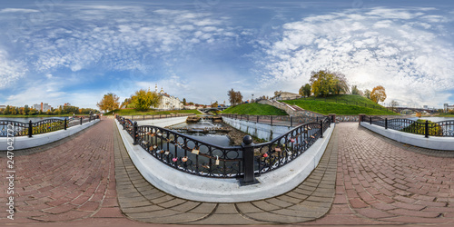 Full spherical 360 degrees angle view panorama old city near steel