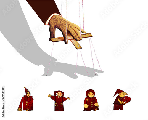 The wooden hand of a man, like a puppet, controls his own shadow Wallpaper Mural