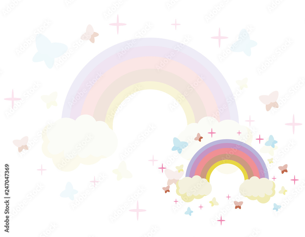 Fototapeta Fairy rainbow. Rainbow escaping from two clouds