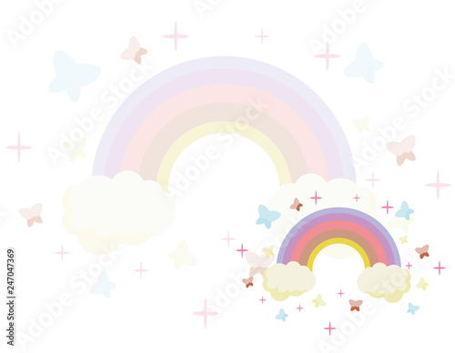 Fairy rainbow. Rainbow escaping from two clouds