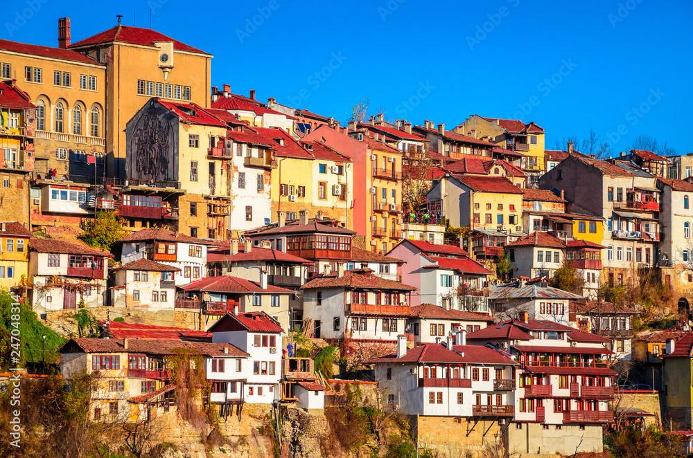 Fototapety, obrazy: Aerial view of  Veliko Tarnovo in a beautiful autumn day, Bulgaria