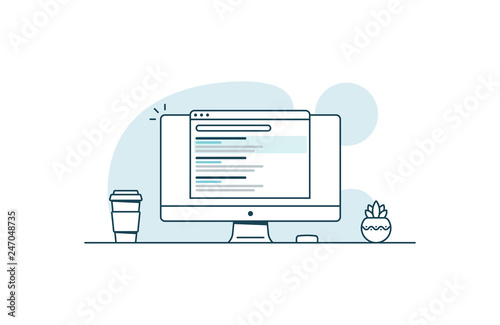 Obraz SEO optimization concept. Website promotion. Vector illustration in line art style - fototapety do salonu