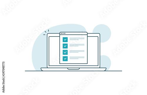 Fototapeta Laptop with checklist