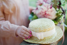 Boater Straw Hat With Pink Ribbon