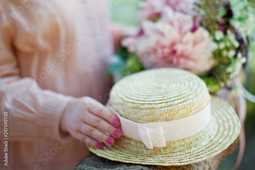 Boater straw hat with pink ribbon Canvas Print