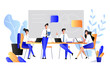 Teamwork, cooperation, partnership concept. Vector flat style illustration. Business people have brainstorming in office