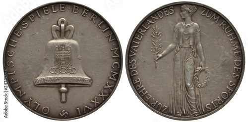 Fényképezés  Germany German medal Olympic Games in Berlin in 1936, large bell with eagle in c