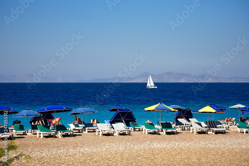 Ellie Beach is the nearest beach to Rhodes Town and is popular with locals and tourists alike Canvas Print