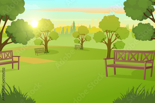 Fotografia, Obraz Sunny Day in City Park with Green Grass on Meadow and Benches under Trees Cartoon Vector Illustration