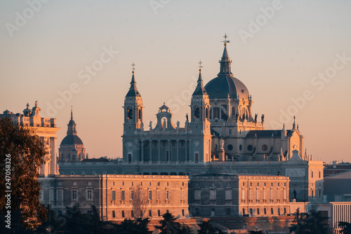 Poster Madrid View of the Almudena Cathedral at sunset, from the Templo de Debod, in Madrid, Spain