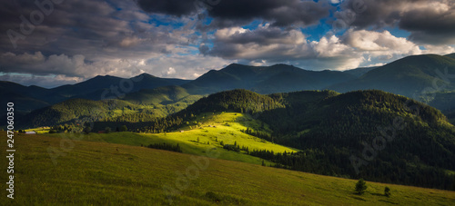Unusual view of the alpine valley that glowing by sunlight. Location place Carpathian, Ukraine, Europe.
