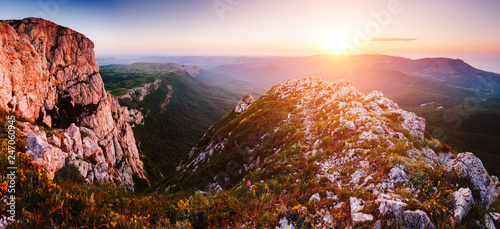 Scenic valley in morning light. Location Crimea, Crimean peninsula, Ukraine, Europe.