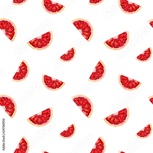 Foto auf Leinwand Künstlich Watercolor hand drawn blood orange seamless pattern.