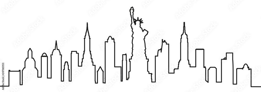 Fototapety, obrazy: New York city silhouette one line - vector