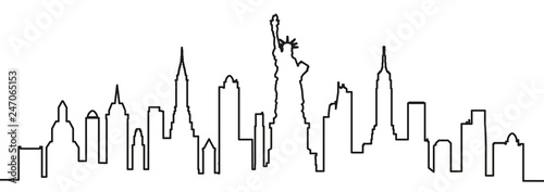 New York city silhouette one line - vector