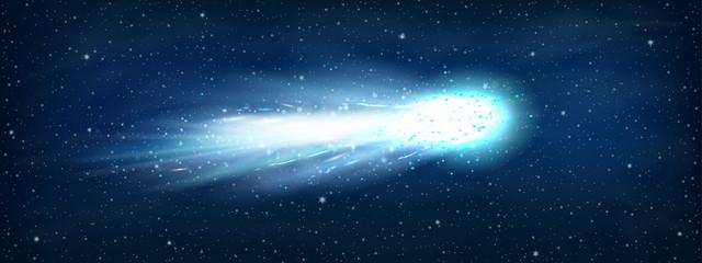 Comet asteroid and meteorite. Atmospheric fireballs. Illustration of asteroid and comet, meteor and meteorite. Comet shooting effect and glowing asteroids, stars at night sky, cosmos starlight trail