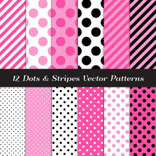 Hot Pink, Pink, Black And White Jumbo Polka Dots, Tiny Polka Dots And Candy Stripes Patterns. Cute Girly Backgrounds. Perfect For Children's Party Decor. Repeating Pattern Tile Swatches Included.