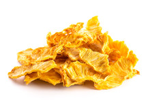 PIle Of Dried Pineapple On A Wooden Table