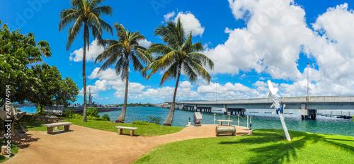 Photo  USS Bowfin Submarine and Ford Island Bridge