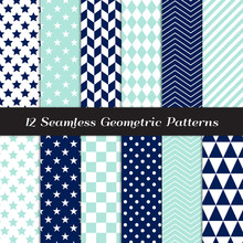 Navy Blue, Aqua And White Geometric Patterns. Modern Backgrounds In Diamond, Chevron, Polka Dot, Checks, Stars, Triangles, Herringbone & Stripes. Repeating Pattern Tile Swatches Included.