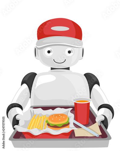 Fotobehang Indiërs Robot Waiter Serve Illustration