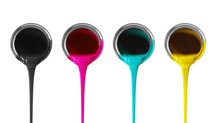 Set of bright paints pouring from silver metal cans on white background