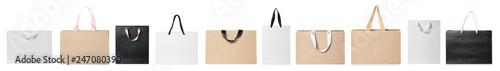 Fototapeta Set of different paper bags for shopping on white background. Mockup for design obraz